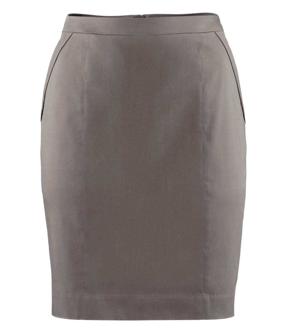 H&m Pencil Skirt in Gray | Lyst