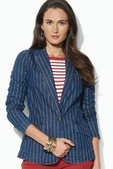 Lauren by Ralph Lauren Pin Stripe Denim Blazer - Lyst