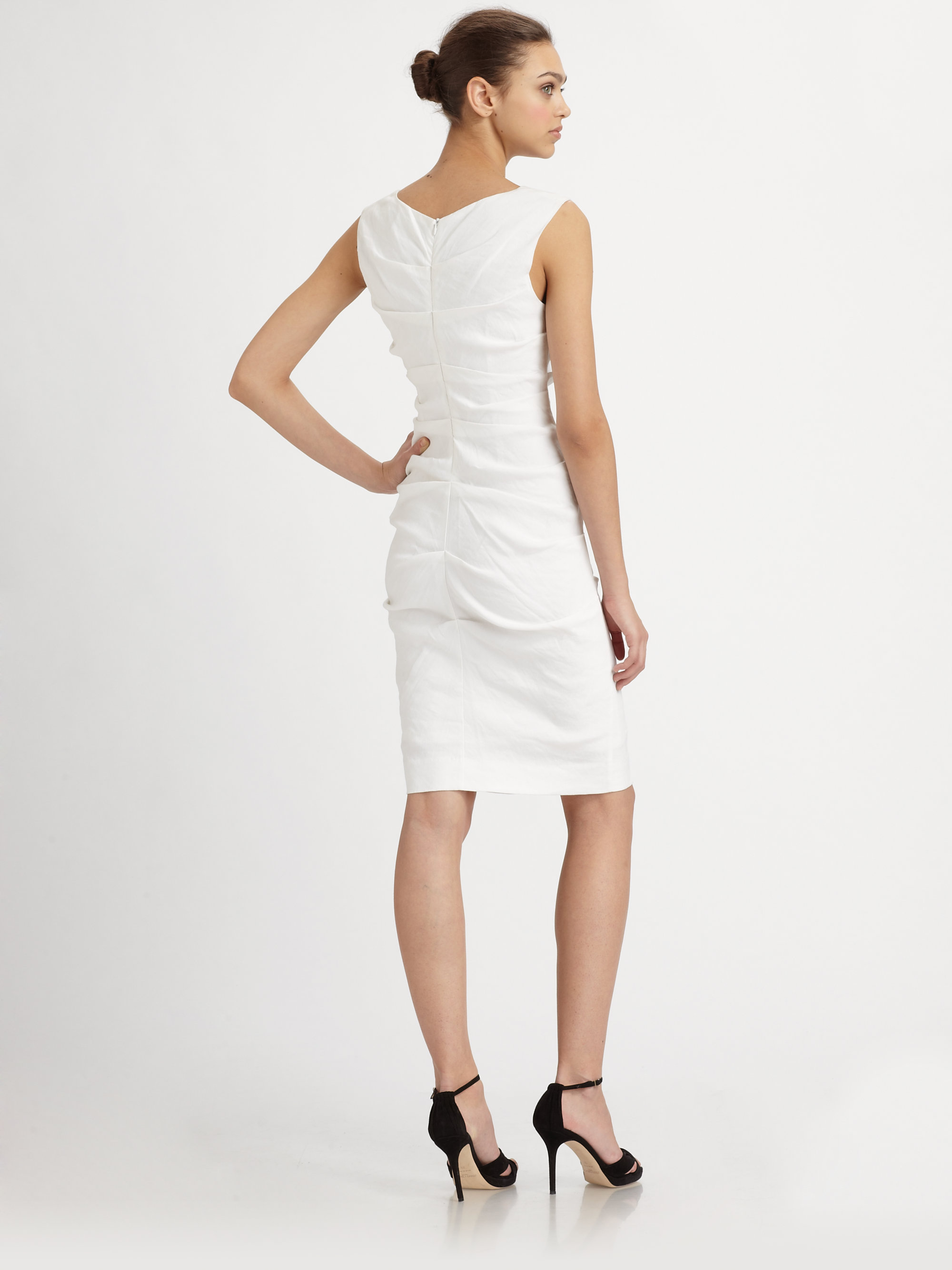 Nicole miller Stretch Linen Tuck Dress in White  Lyst
