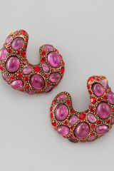 Oscar de la Renta Curved Cabochon Earrings - Lyst