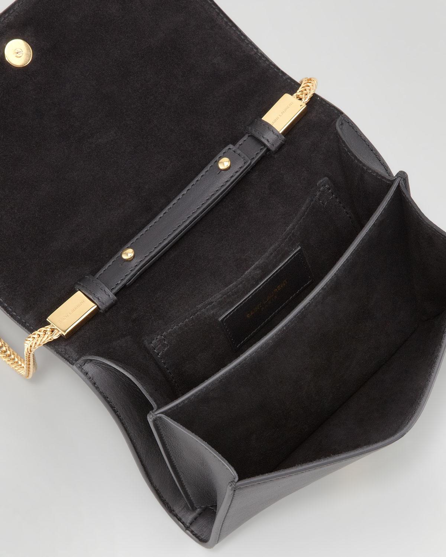 696f7d947f Lyst - Saint Laurent Y-Ligne Leather Cross-Body Bag in Black