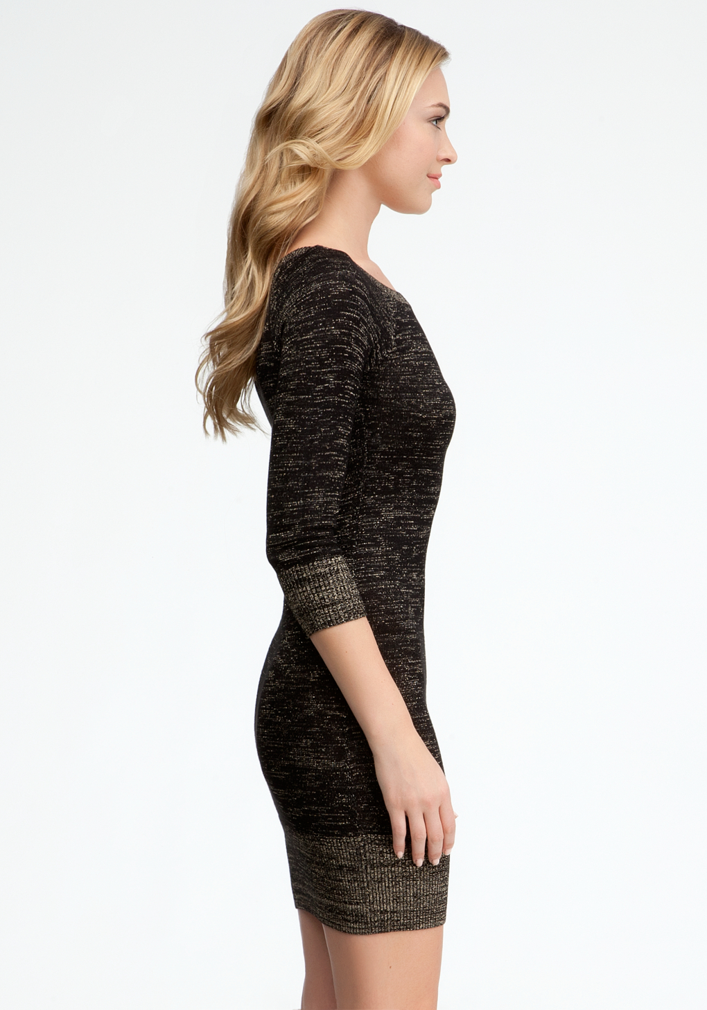 2ee247e5439 Bebe Boatneck Lurex Sweater Dress in Black - Lyst