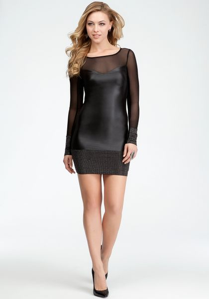 Bebe Studded Band Coated Jersey Dress in Black (blk) | Lyst - photo #4
