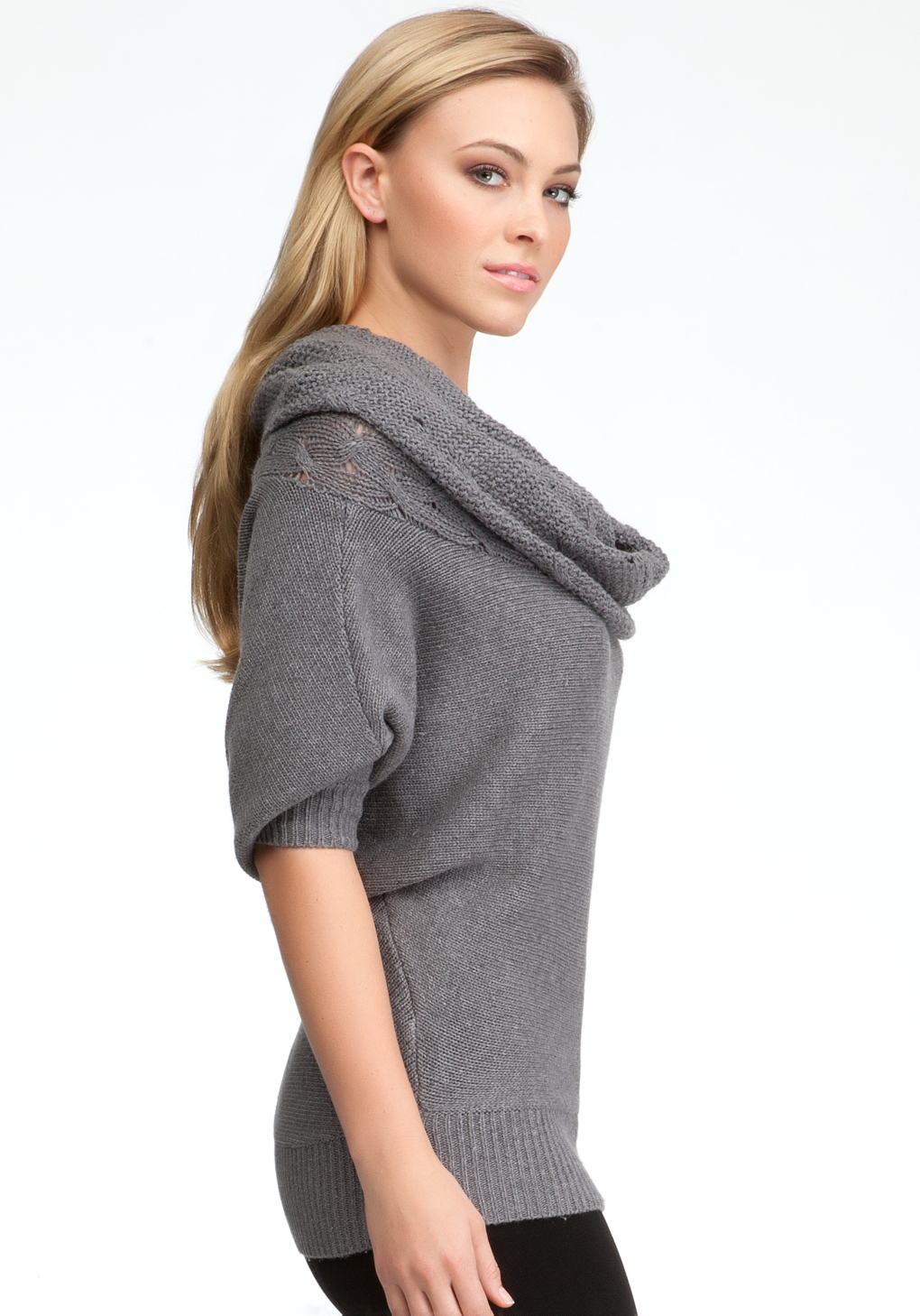Bebe Cable Cowl Neck Batwing Sweater in Gray | Lyst