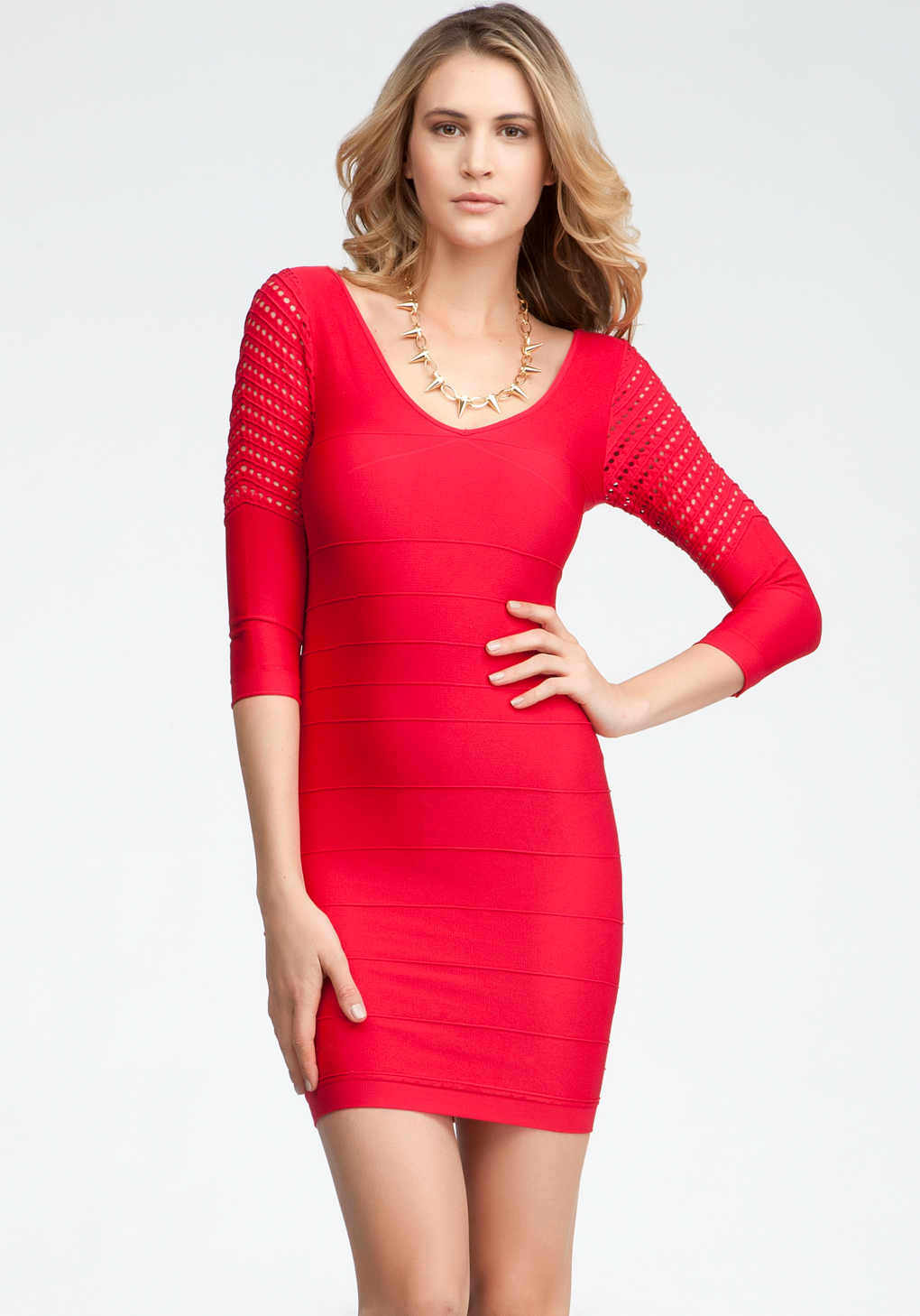 lyst bebe mesh sleeve ottoman bodycon dress in red. Black Bedroom Furniture Sets. Home Design Ideas