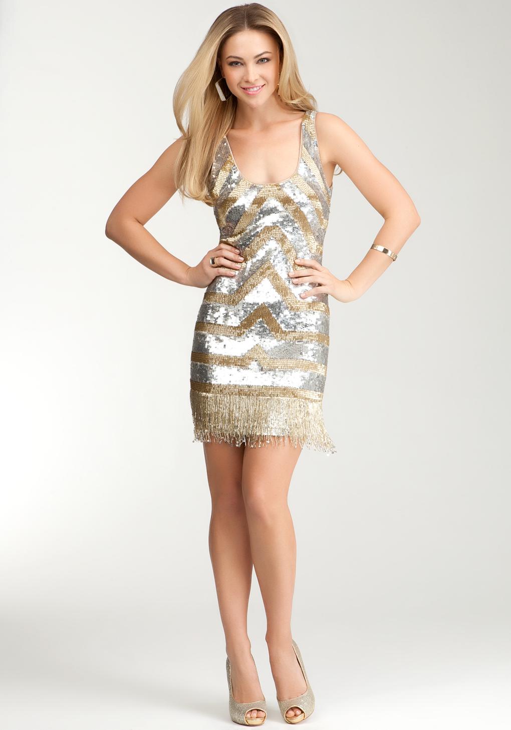 Bebe Sequin Bead Tank Dress in Metallic - Lyst