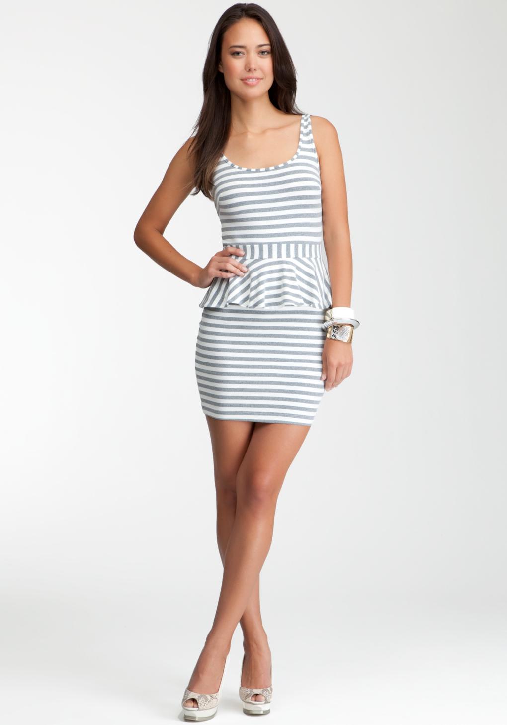 Lyst Bebe Striped Peplum Dress In Gray