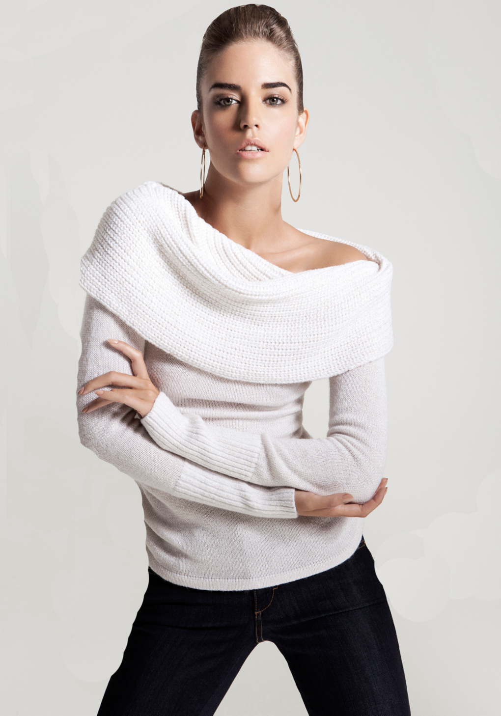 Bebe Off-Shoulder Metallic Sweater in White | Lyst
