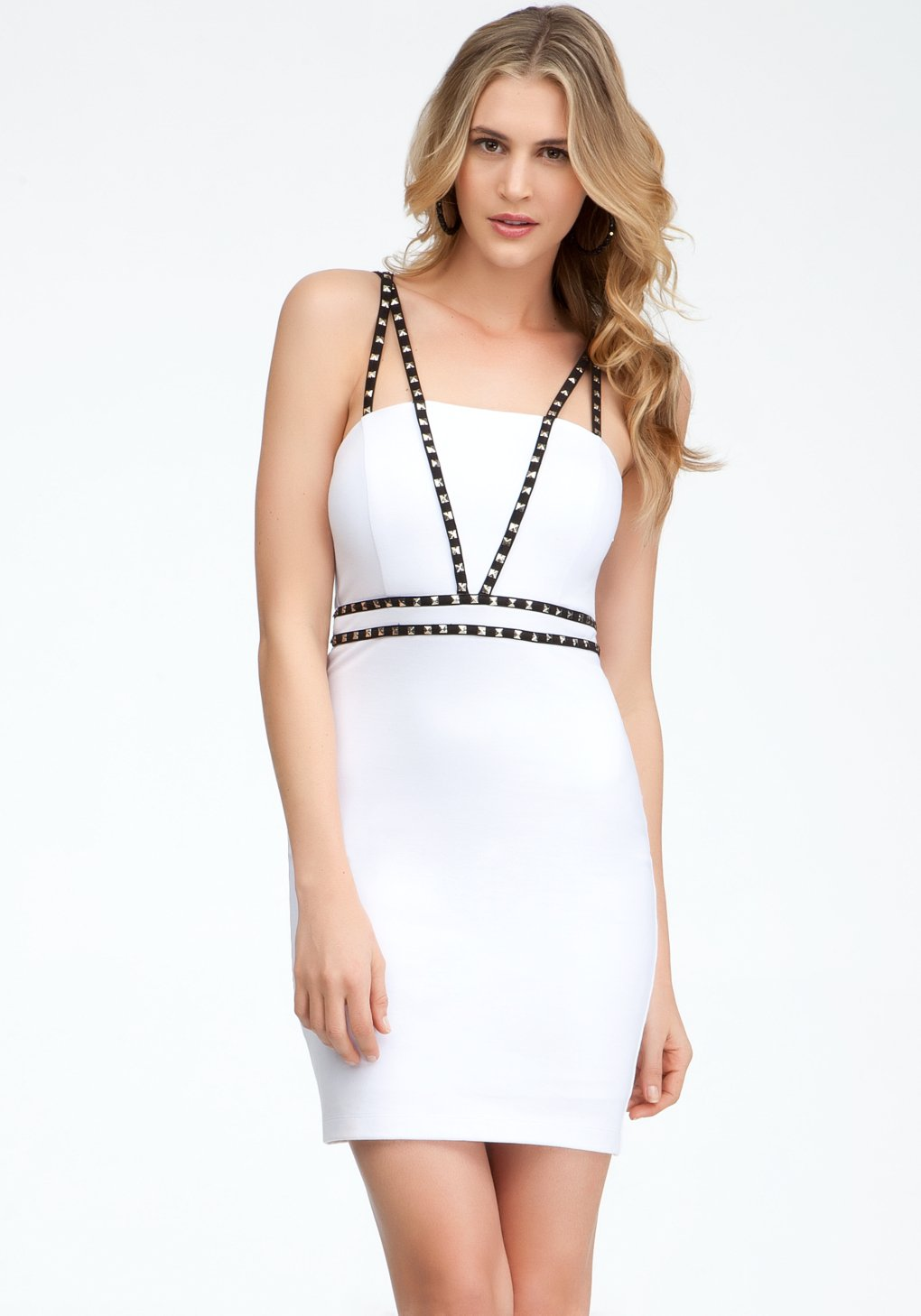 white leather studded dress bebe images