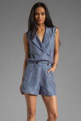 10 Crosby by Derek Lam Romper with Vented Back in Twilight - Lyst