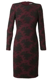 Alexander McQueen Layered Crepe Wool and Lace Dress - Lyst