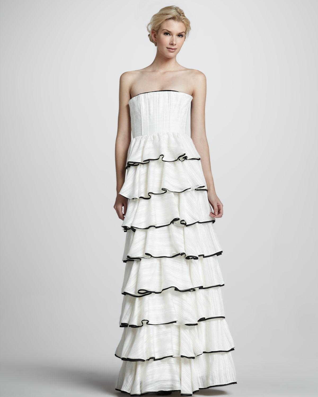 Lyst - Alice + Olivia Aurora Strapless Tiered Gown in White