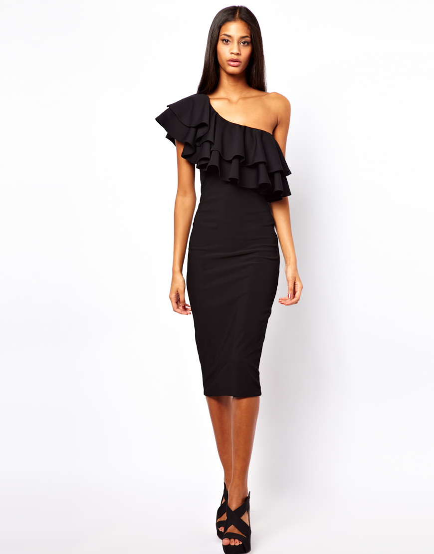 Lyst - Asos One Shoulder Ruffle Tube Dress in Black