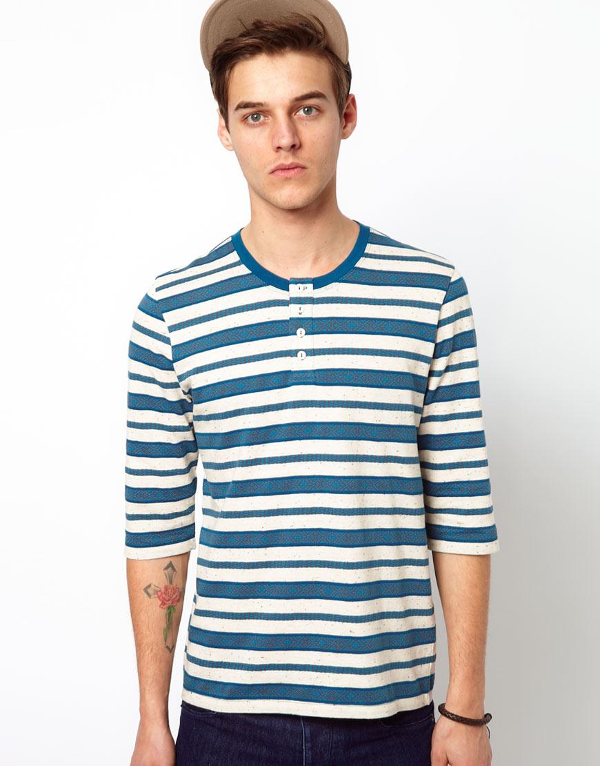 Asos stripe three quarter sleeved grandad t shirt with for Asos design free t shirt