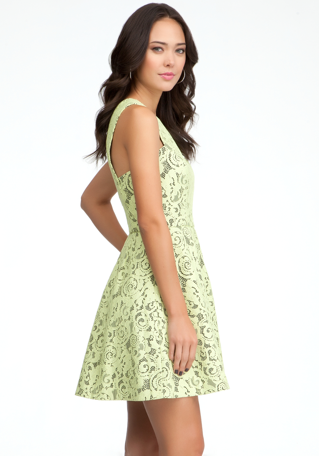 Lyst Bebe Fit Flare Lace Dress In Yellow