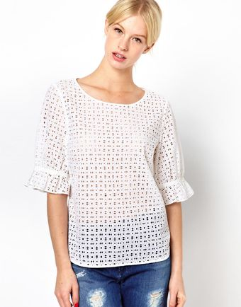 Boutique By Jaeger Broderie Anglais Frill Sleeve Top - Lyst
