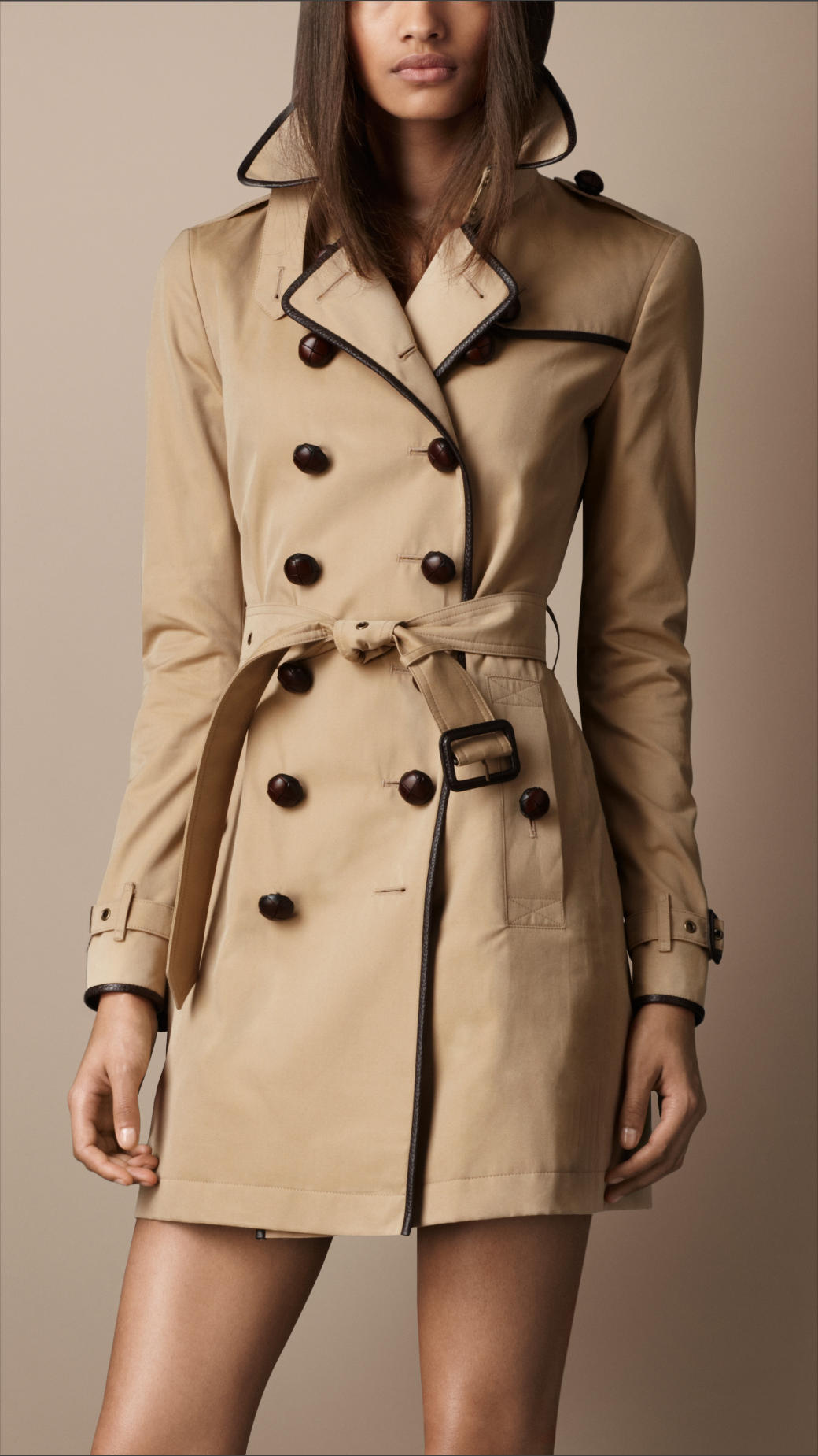 burberry midlength cotton gabardine trench coat in natural lyst. Black Bedroom Furniture Sets. Home Design Ideas