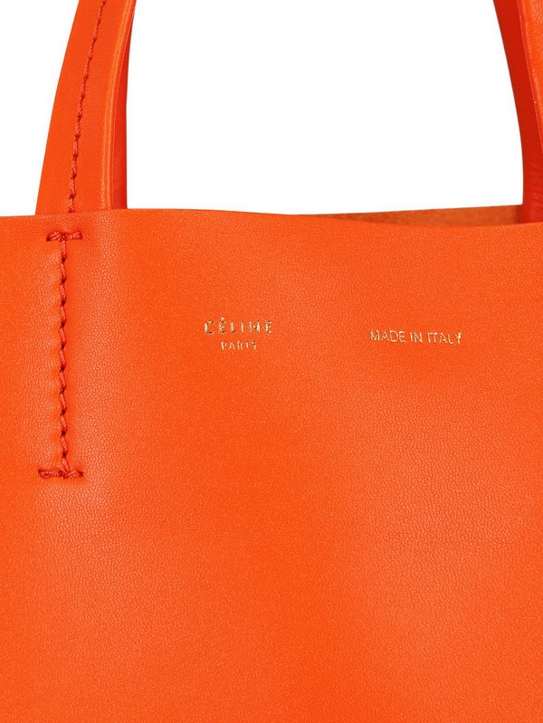 C¨¦line Cabas Bicolored Leather Tote in Red (orange/red) | Lyst