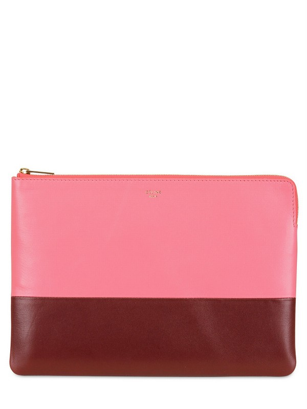 C¨¦line Bicolored Solo Pouch Leather Clutch in Pink (pink/rust) | Lyst