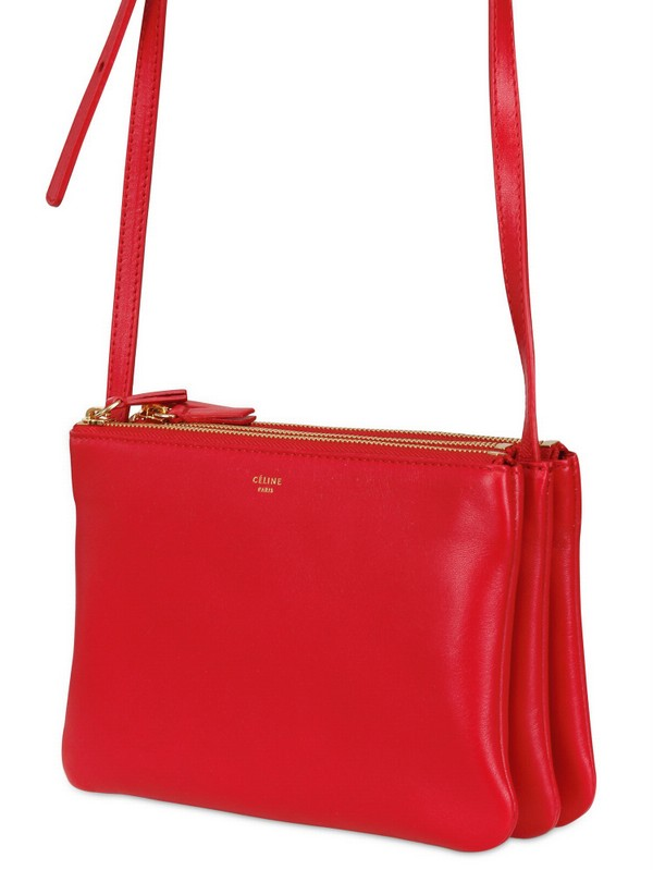 C¨¦line Trio Cabas Solo Leather Shoulder Bag in Red | Lyst
