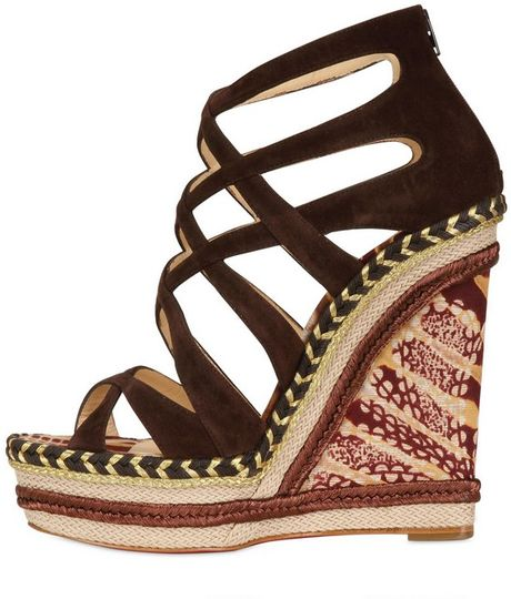 Christian Louboutin 140mm Tosca Suede Cage Wedges In Brown
