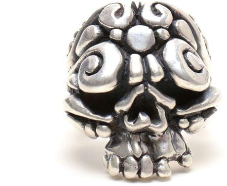 Duffy Sterling Silver Ornate Skull Ring in Silver