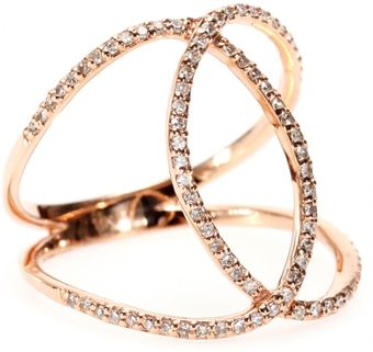 Jacquie Aiche 14kt Rose Gold Pave White Diamond Overlap Circle Eternity Ring - Lyst