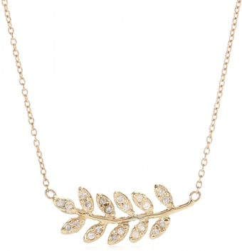 Jacquie Aiche 14kt Yellow Gold Large Leaf Pendant Necklace with White Diamonds - Lyst