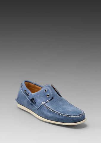 John Varvatos Schooner Boat Shoe in Blue - Lyst