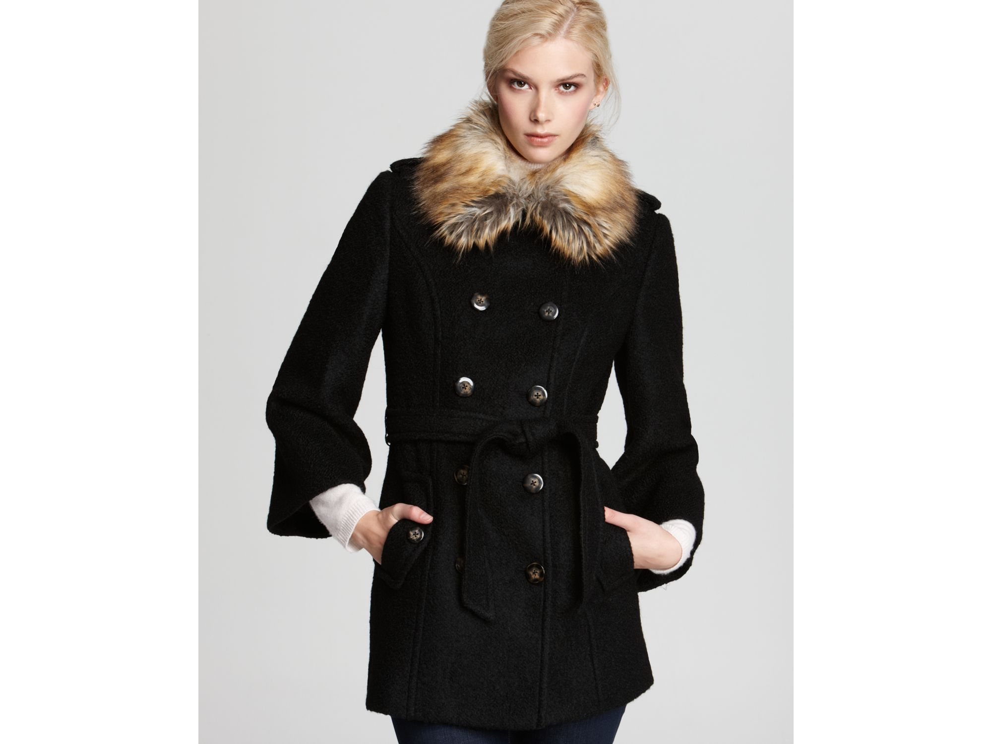 Laundry by shelli segal Belted Double Breasted Wool Coat with Faux ...