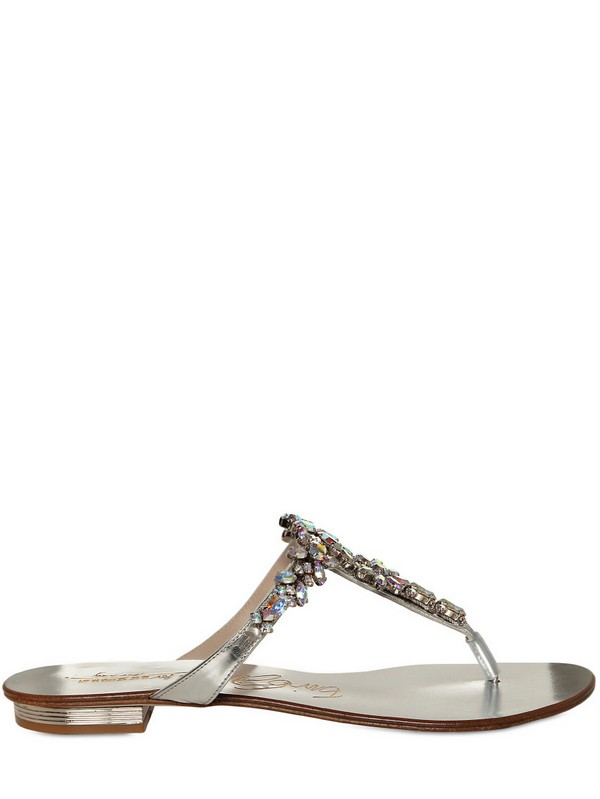 5f13d2a77 Le Silla 10mm Swarovski Flower Leather Sandals in Metallic - Lyst