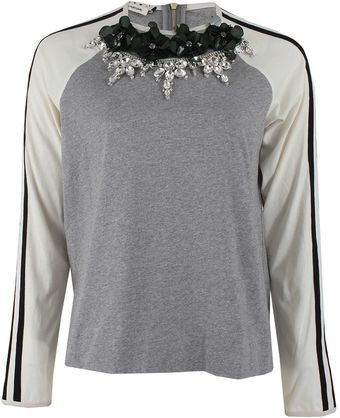 Marni Long Sleeve Sequin Crystal Knit Top - Lyst
