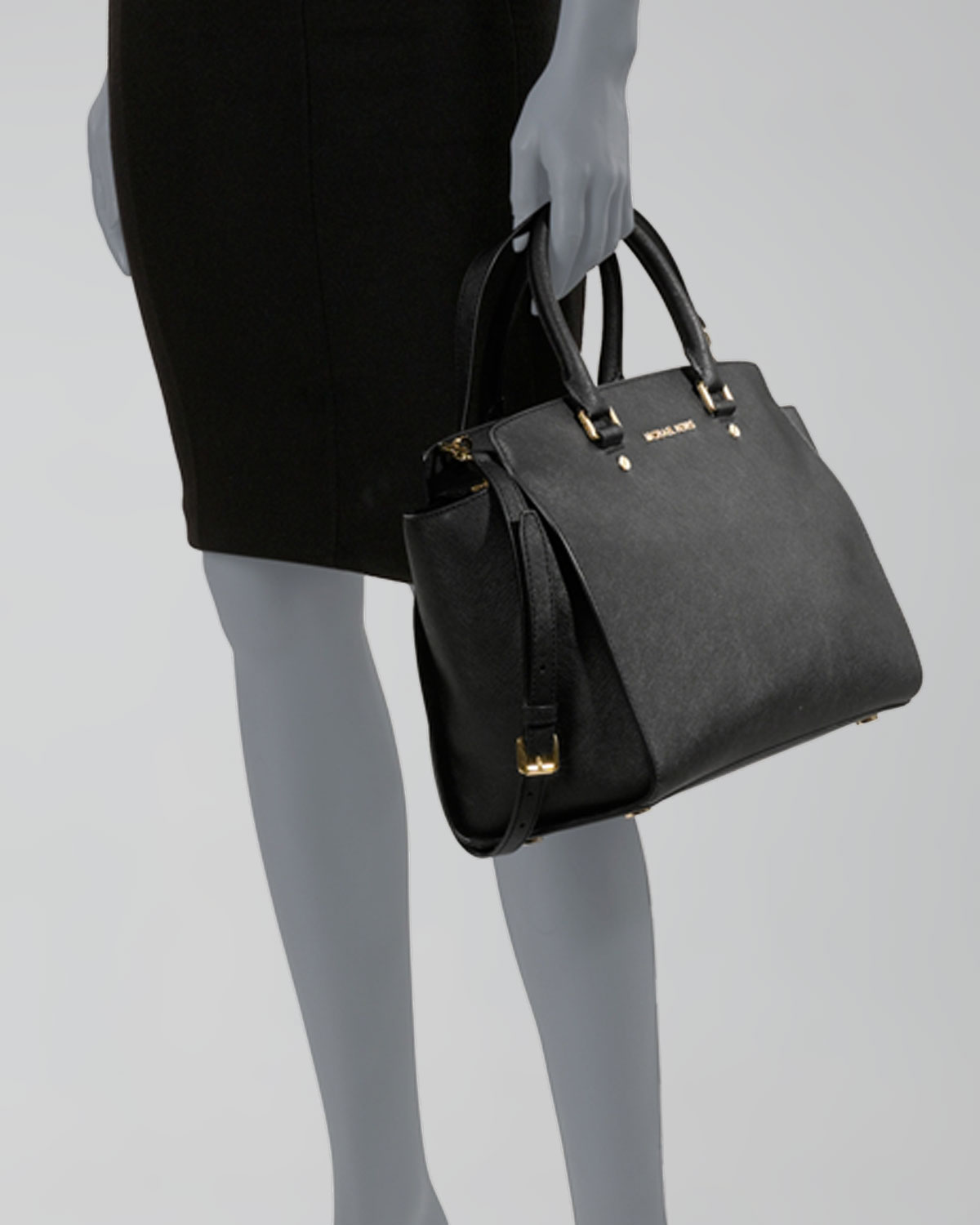 398d46dbf9e6df spain lyst michael michael kors selma large top zip satchel bag in black  0551b c3b8d