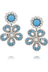 Miu Miu Swarovski Crystal Flower Clip Earrings - Lyst
