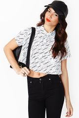 Nasty Gal Dotted Line Crop Blouse - Lyst