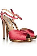 Oscar de la Renta Avani Satin and Mirrored Leather Sandals - Lyst