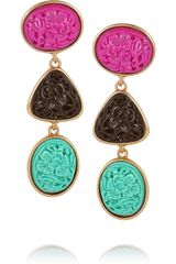 Oscar de la Renta Goldplated Carved Cabochon Clip Earrings - Lyst