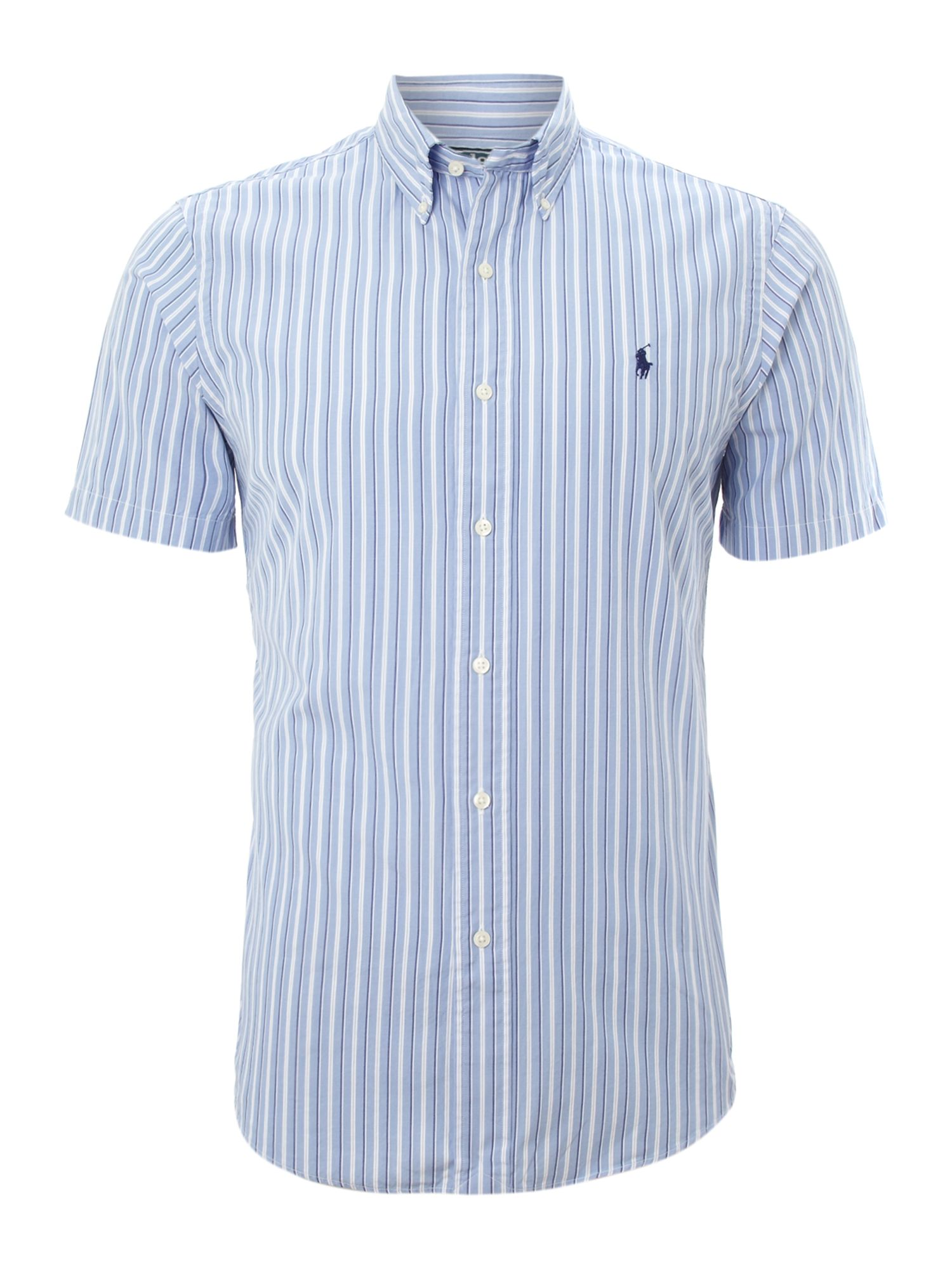 Polo ralph lauren short sleeved striped shirt in blue for for Blue striped shirt mens
