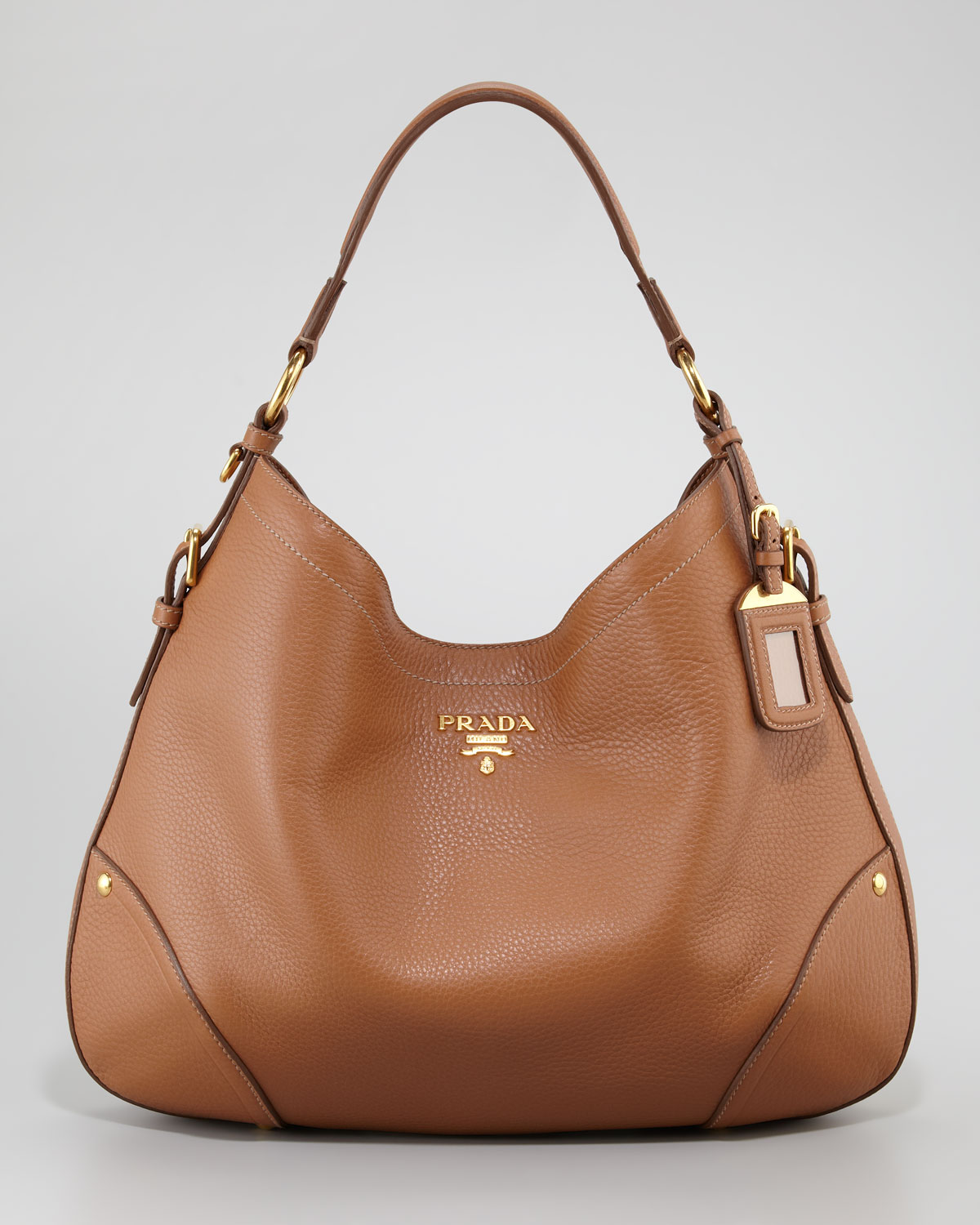 Prada Vitello Daino Snap Hobo Bag in Brown - Lyst 9409ec4b3b
