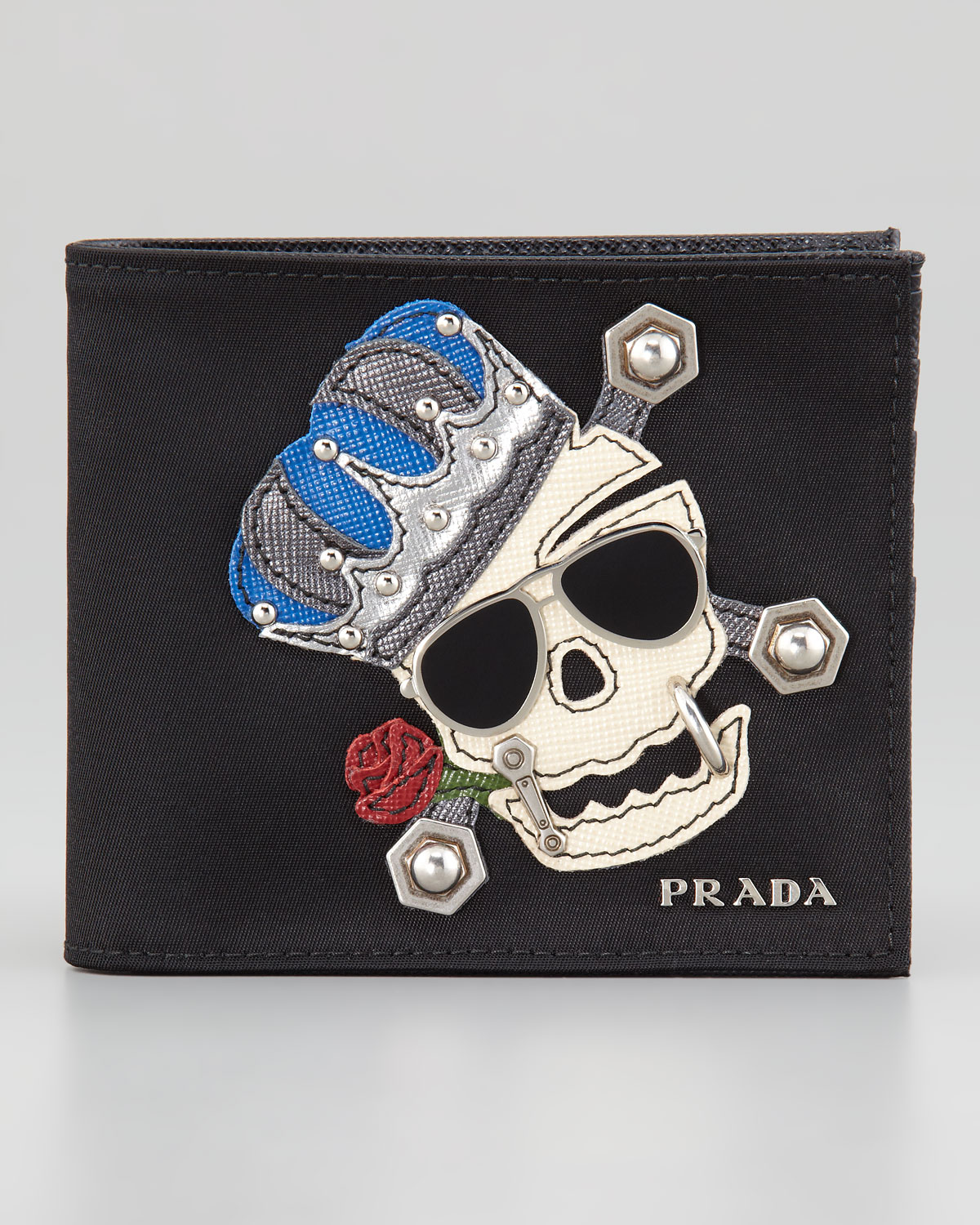 Prada Skull-Motif Wallet in Black for Men (null) | Lyst