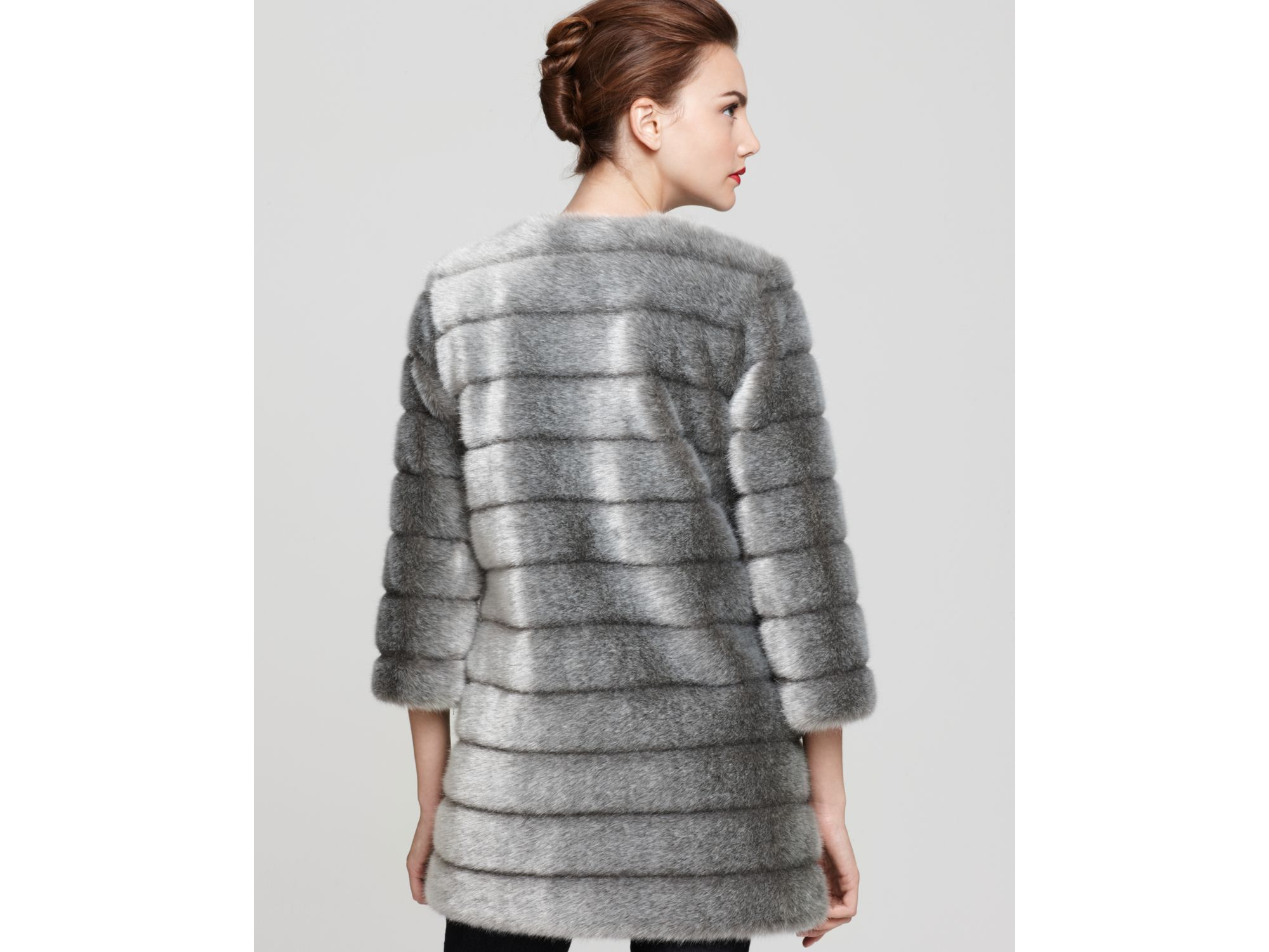 Sam edelman Faux Mink Fur Coat in Gray | Lyst