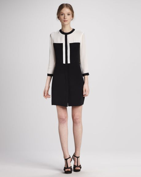 Tibi Colorblock Paneled Silk Dress in White (white/black multi) - Lyst