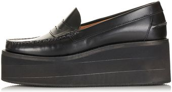 Topshop Leather Flatform Loafers  - Lyst