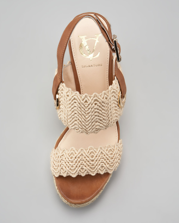 0b57d6595ef6 Lyst - Vc Signature Milo Crochet Sling back Espadrille Wedge Sandal ...