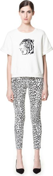 Zara Animal Print Twill Trousers in Animal (white) - Lyst