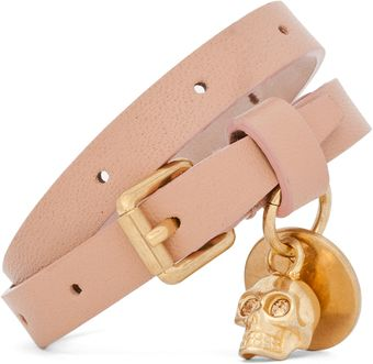 Alexander McQueen Skull Charm Double Wrap Leather Bracelet in Deep Blush - Lyst