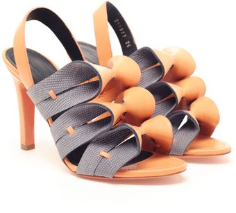 Balenciaga Contrasting Leather Bow Sandals - Lyst