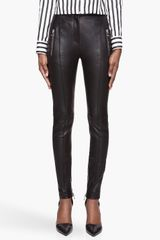 Balmain Black Highwaisted Leather Leggings - Lyst