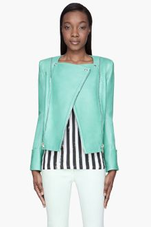 Balmain Mint Green Leather Zipped Biker Jacket - Lyst