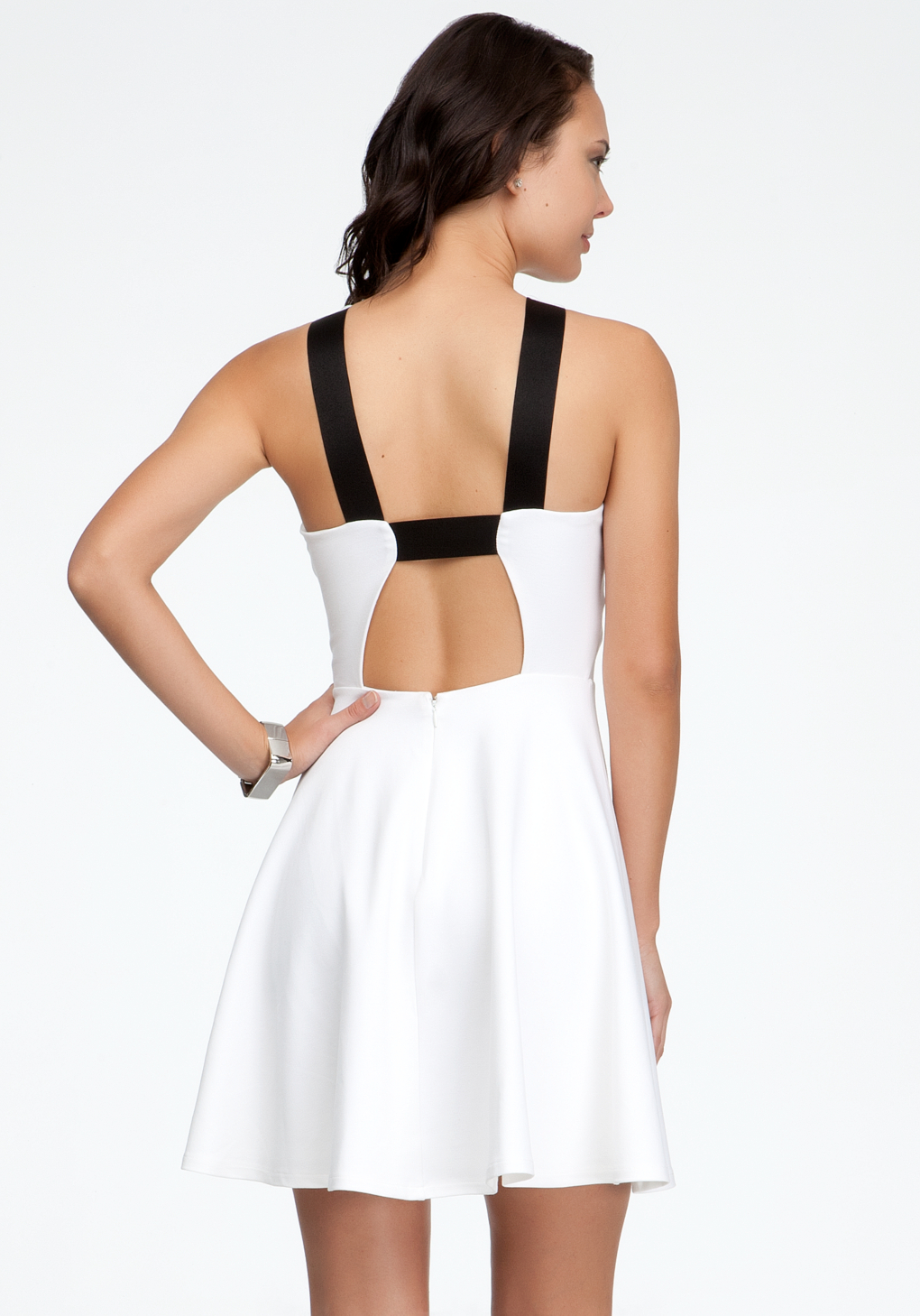 Bebe Cut Out Mini Dress In White Lyst